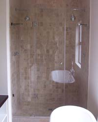 Custom frameless showers with centre door