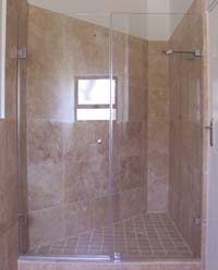 Custom frameless showers hinged door with in-line panel