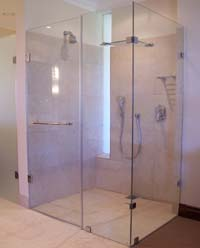 Frameless glass showers with panels